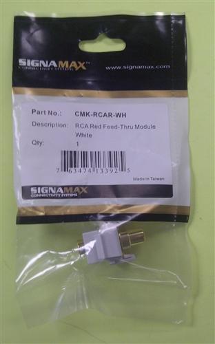 Signamax Rca Red Feed Thru Keystone Mod Wht Cmk Rcar Wh