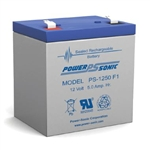 "POWERSONIC 12V 5AH SLA BATTERY .250""QC PS1250F2"
