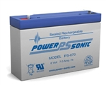POWERSONIC 6V 7AH W/.187QC SLA BATTERY PS670