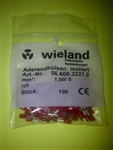 WIELAND FERRULE 18AWG 1.0MM RED (100 PK) 06.600.2227.0
