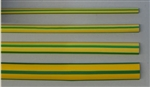 "LG 2:1 1/4"" YELLOW W/GREEN STRIPE HEAT SHRINK 1/4YEL/GRN    4 FOOT LENGTH"