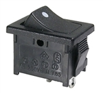 MODE SPST ON/OFF 10A 125VAC ROCKER SWITCH BLACK 46-143J-1   SOLDER STYLE - NOT COMPATIBLE WITH CRIMP TERMINALS
