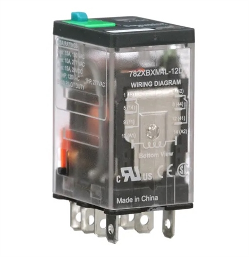 magnecraft 12vdc 15a 12a dpdt icecube relay 782xbxm4l12d rh be electronics com