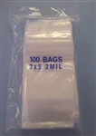 "POLY BAG SELF SEALING W/WINDOW 3""X5"" (100/PK) BAG3X5"