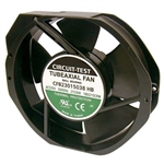 "CIRCUIT TEST CFB23015038HB 230VAC BALL BEARING FAN 150MM    X 172MM X 38MM 212CFM 58DB 26W 0.11A 3400RPM 1/8"" TERMINALS"