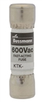 "BUSS 13/32""X1-1/2"" FAST-BLOW MELAMINE TUBE 600V FUSE KTK9   KTK-9 AC RATED ONLY, NOT TESTED/RATED FOR DC APPLICATIONS"
