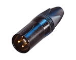 NEUTRIK 3-PIN MALE XLR BLK W/GOLD CONTACTS NC3MXXB          SLEEK DESIGN