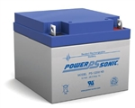 "POWERSONIC GEL BATTERY 12V/26AHR W/.25"" TABS PS12260F2"