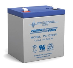 POWERSONIC 12V 5AH SLA BATTERY W/.187 FASTON (F1) PS1250    MFR# PS-1250F1