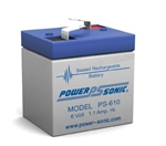 "POWERSONIC 6V 1AH W/.187""QC SLA BATTERY PS610"