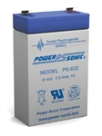 "POWERSONIC 6V/3.5AHR GELL BATTERY PS632                     .187"" QUICK CONNECT MALE TERMINALS"