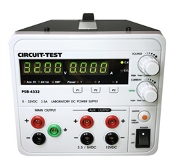 CIRCUIT TEST TRIPLE OUTPUT LINEAR POWER SUPPLY PSB4332      VARIABLE 32VDC/3.5A; FIXED 3.3 OR 5VDC @0.8A & 12VDC @0.8A