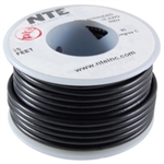 NTE 18AWG BLACK TEFLON HOOKUP WIRE (25 FEET) WT18-00-25     200C/600V SILVER PLATED COPPER/SPC