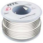 NTE 24AWG WHITE TEFLON HOOKUP WIRE (25 FEET) WT24-09-25     200C/600V SILVER PLATED COPPER/SPC